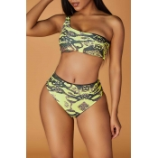 Lovely Print Yellow Two-piece Swimsuit