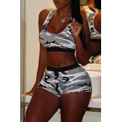 Lovely Casual Camo Print Two-piece Shorts Set