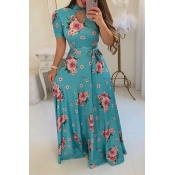 Lovely Casual Floral Print Blue  Maxi Dress