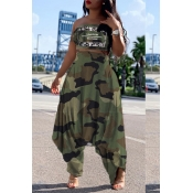 Lovely Leisure Camo Print Army Green Two-piece Pan