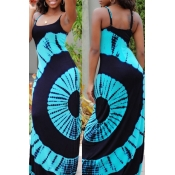 Lovely Casual Print Blue Maxi Dress