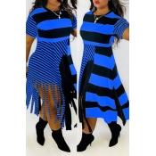 Lovely Casual Tassel Print Blue Plus Size Dress