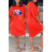 Lovely Casual Lip Print Jacinth Knee Length Dress