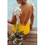 Lovely Backless Yellow Bathing Suit One-piece Swim