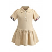 Lovely Chic Buttons Design Apricot Girl Knee Lengt