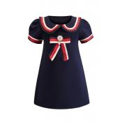Lovely Sweet Bow-Tie Dark Blue Girl Knee Length Dr