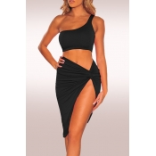 Lovely Sexy One Shoulder Black Two-piece Skirt Set