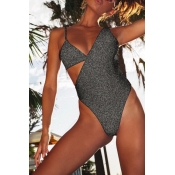 Lovely Hollow-out Grey Bathing Suit One-piece Swimsuit