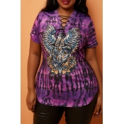Lovely Casual Print Purple Plus Size T-shirt