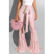 Lovely Sweet Striped Print Light Pink Pants
