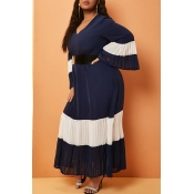 Lovely Casual Patchwork Navy Blue Ankle Length Plu
