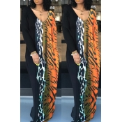 Lovely Leisure Patchwork Multicolor Maxi Dress