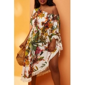 Lovely Tassel Design White Plus Size Cover-Up