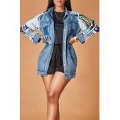 Lovely Trendy Patchwork Blue Jacket