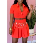 Lovely Casual Buttons Design Jacinth Two-piece Ski