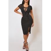 Lovely Sexy Bandage Design Black Knee Length Dress