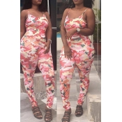 Lovely Leisure Camo Print Pink One-piece Jumpsuit