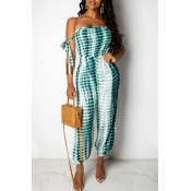 Lovely Casual Lace-up Print Green One-piece Jumpsu