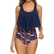 Lovely Print Blue Two-piece Swimsuit