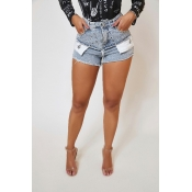 Lovely Trendy Patchwork Baby Blue Shorts