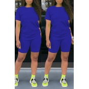 Lovely Casual Basic Blue Two-piece Shorts Set