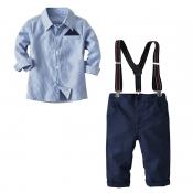Lovely Trendy Striped Blue Boy Two-piece Pants Set