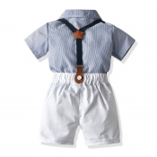Lovely Trendy Striped Baby Blue Boy Two-piece Shor