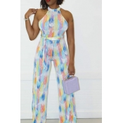 Lovely Bohemian Print White One-piece Jumpsuit