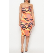 Lovely Chic One Shoulder Camo Print Knee Length Dr