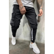 Lovely Leisure Pocket Patched Black Jeans