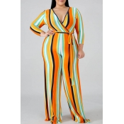 Lovely Casual Striped Yellow Plus Size One-piece J
