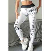 Lovely Casual Letter Print White Leggings