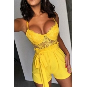 Lovely Trendy Patchwork Yellow One-piece Romper
