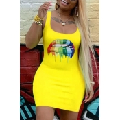 Lovely Casual Lip Print Yellow Mini Dress