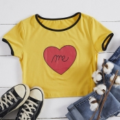 Lovely Casual O Neck Heart Print Yellow T-shirt