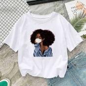 Lovely Casual Cartoon Print White T-shirt