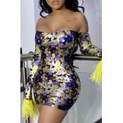 Lovely Trendy See-through Yellow Mini Dress