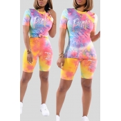 Lovely Casual Tie-dye Multicolor Two-piece Shorts