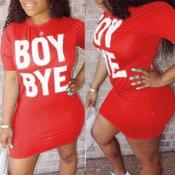 Lovely Leisure Letter Print Red Mini T-shirt Dress