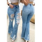 Lovely Vintage Broken Holes Blue Jeans