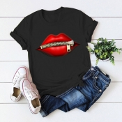 Lovely Casual O Neck Lip Print Black T-shirt