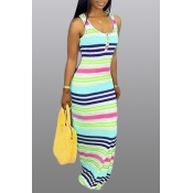 Lovely Leisure Striped Blue Maxi Dress
