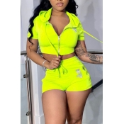 Lovely Sportswear Zipper Design Yellow Two-piece S