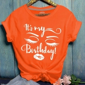 Lovely Leisure Print Orange T-shirt