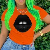Lovely Leisure Lip Print Orange T-shirt