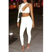 Lovely Sexy Asymmetrical White Two-piece Pants Set