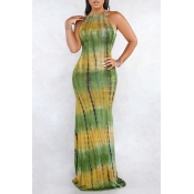 Lovely Casual Tie-dye Green Maxi Dress