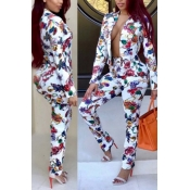 Lovely Casual Print White Two-piece Pants Set