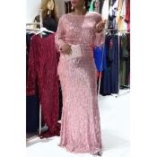 Lovely Trendy Tassel Design Pink Maxi Plus Size Dr
