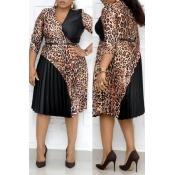 Lovely Stylish Patchwork Black Knee Length Plus Si